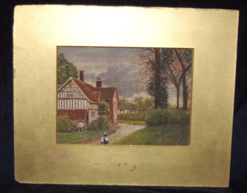 EARLY 1900's GIRL & LADY FOLK ART PAINTING~NEW ENGLAND CREEP ON~ SIGNED ORIGINAL