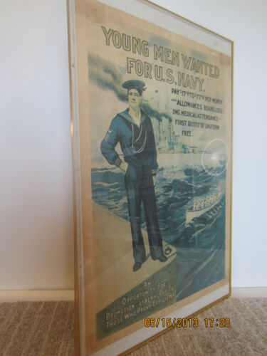 "US NAVY, WW 1 ""WHITE FLEET"" RECRUITING POSTER"