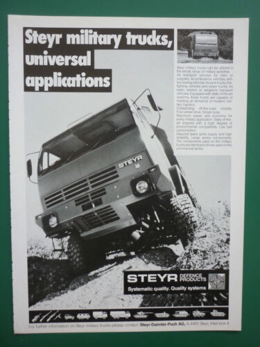 3/1988 PUB STEYR DEFENCE PRODUCTS MILITARY TRUCKS CAMION MILITAIRE ORIGINAL AD