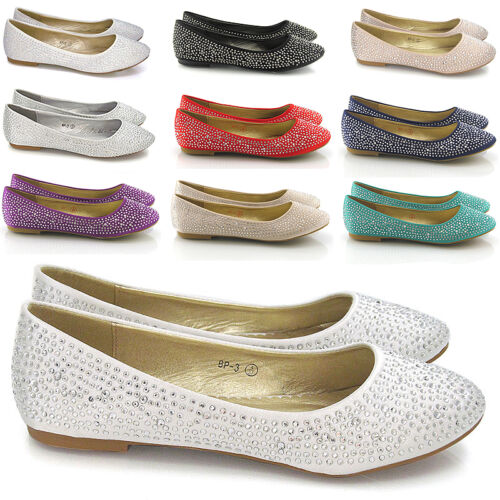 Womens Bridal Diamante Shoes Ladies Sparkly Slip On Bridesmaid Pumps Size 3-9