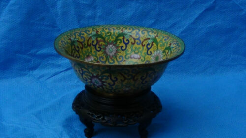 ANTIQUE CHINESE  CLOISONNE LOTUS  BOWL ON CURVED ABONY WOOD STAND