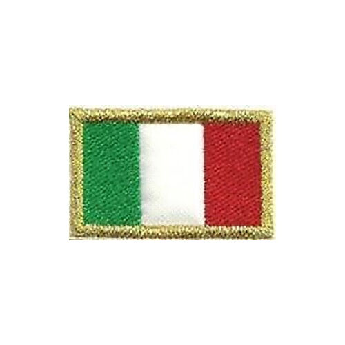 [Patch] BANDIERA ITALIA bordo in oro cm 4 x 2,5 toppa ricamata ricamo ITALY -222Toppe e patch - 36070
