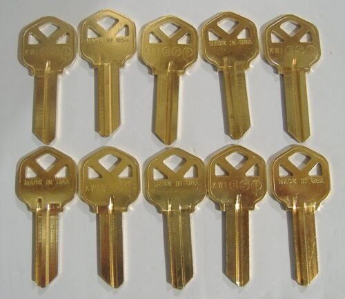 LOT OF TEN LOCKSMITH KW1 KEY BLANKS FITS KWIKSET SOLID BRASS MADE IN USA