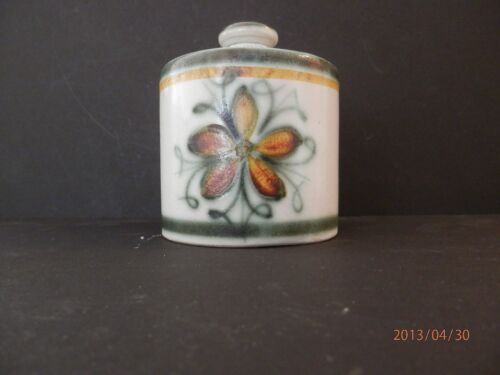 1900-1940 Green French ceramic Hand painted Covered jar, signed by PQE
