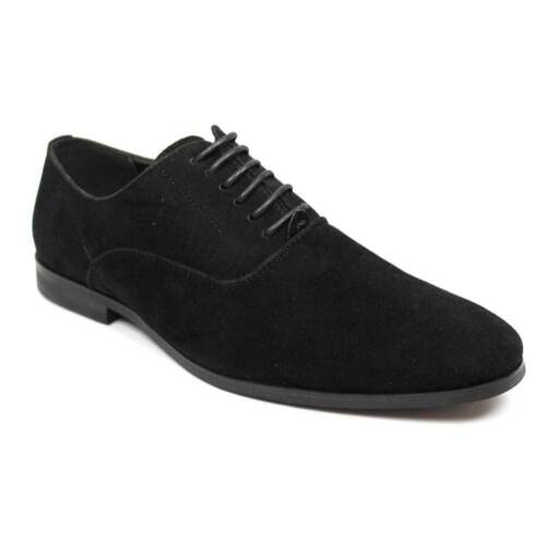 New Men's AZAR Suede Round Toe Lace Up Black Oxfords Modern Dress Shoes NEW