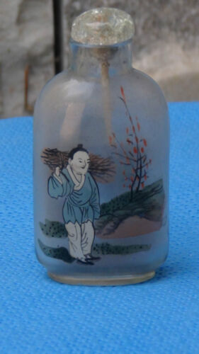 """ANTIQUE 19C CHINESE INSIDE REVERSE PAINTING SNUFF BOTTLE """"MAN WITH LOGWOOD"""""""