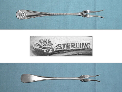 WHITING MFG STERLING 2-TINE BUTTER PICK ~ BEAD ~ NO MONO