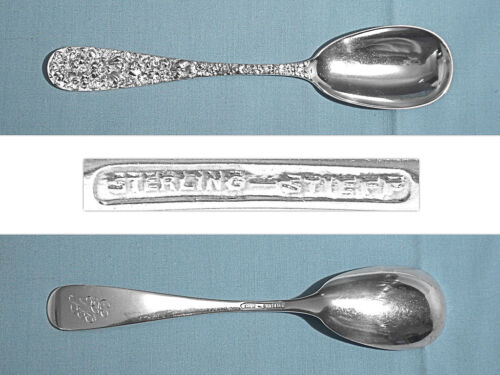 STIEFF STERLING LARGE SOLID JELLY SPOON ~ STIEFF ROSE ~ MONO SMB