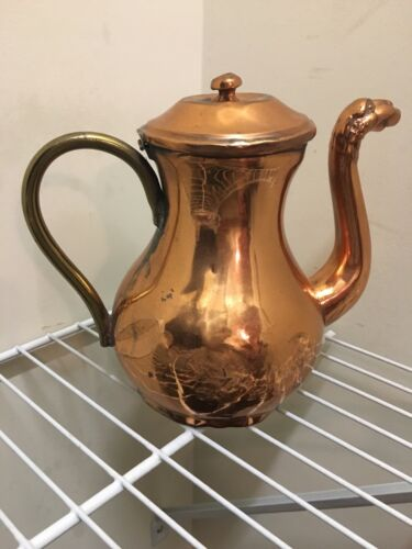 Copper Tea Kettle English Orange Hand made antique 1800-1840 marked