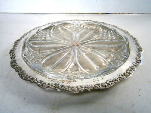 VINTAGE  RENOWN  EPNS  A1 /LEAD CRYSTAL  PLATTER / SERVING TRAY