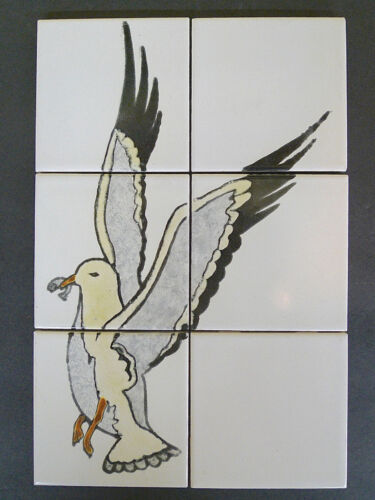 Vintage 6-Tile Set with Seagull