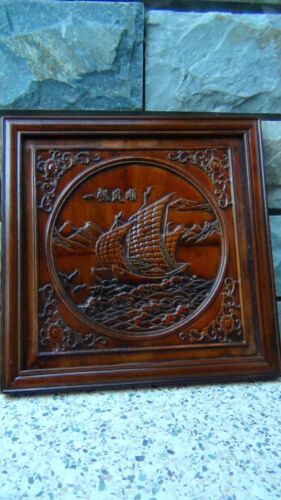 ANTIQUE EARLY 20C CHINESE CAMPHORE WOOD HAND CARVED OF A SAILINGBOAT WALL PLAQUE