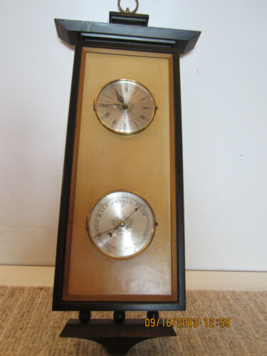 "NAUTICAL ""CLOCK & BAROMETER"" ON ORNATE PLAQUE"