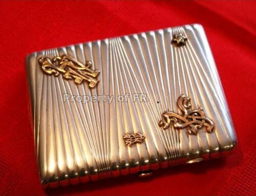 Antique 84 Russian Imperial Solid Silver Cigarette Case