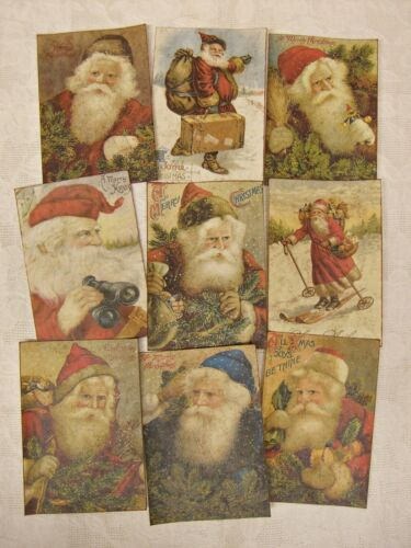Set of 18 VINTAGE LOOK CHRISTMAS LABELS VICTORIAN SANTA Primitive/Grungy ATC