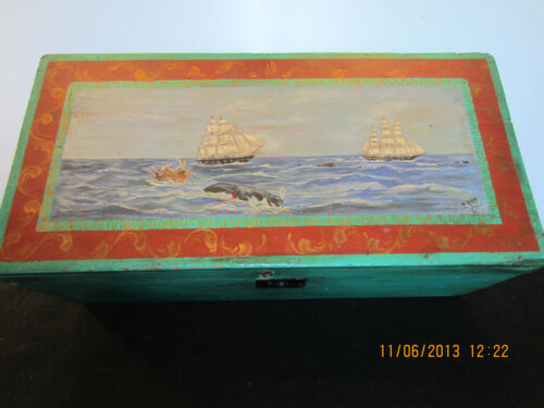 OLD, SIGNED, WHALE PAINTING ON SEAMAN'S CHEST