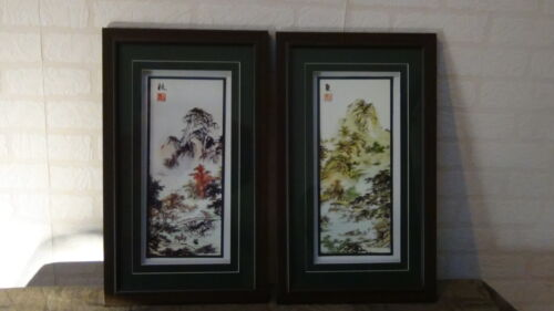 PAIR VINTAGE CHINESE LANDSCAPE SCENE PRINTS  ARTIST'S SIGN &SEAL,FRAMED W/GLASS