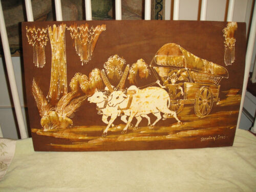 Vintage Tapestry Carriage Pulled Oxen Gerobag Sapi Chinese India Tapestry