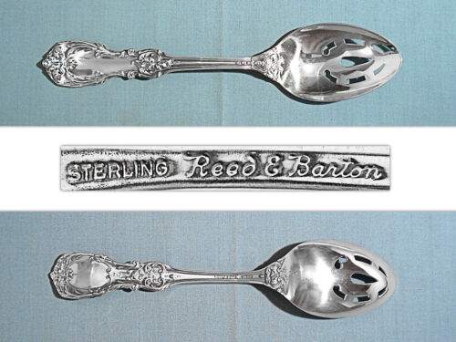 "REED & BARTON STERLING 8 3/8"" PIERCED SERVING SPOON ~ BURGUNDY ~ NO MONO"