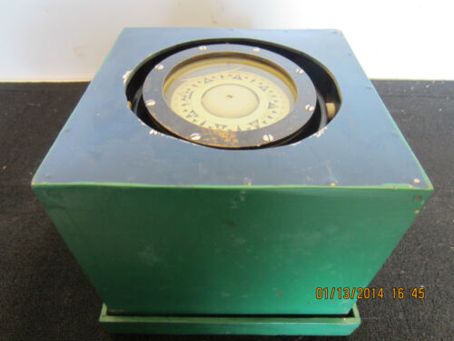 MARITIME, NORWEGIAN, BOXED, BRASS WET COMPASS