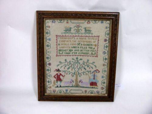 ANTIQUE IRISH SAMPLER C1890'S IN OAK FRAME
