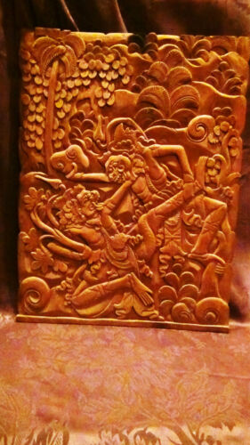 "ANTIQUE 18C ASIAN WOOD HAND CARVED WALL PLAQUE""TWO  FIGHTING WARRIOR """