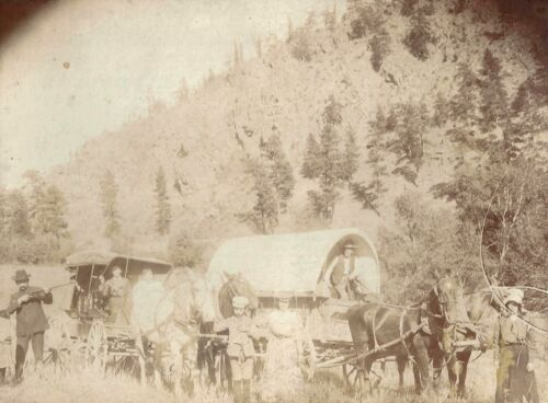 Photo Family of Pioneers Traveling in a Covered Wagon & Carriage  c1880s Colo?