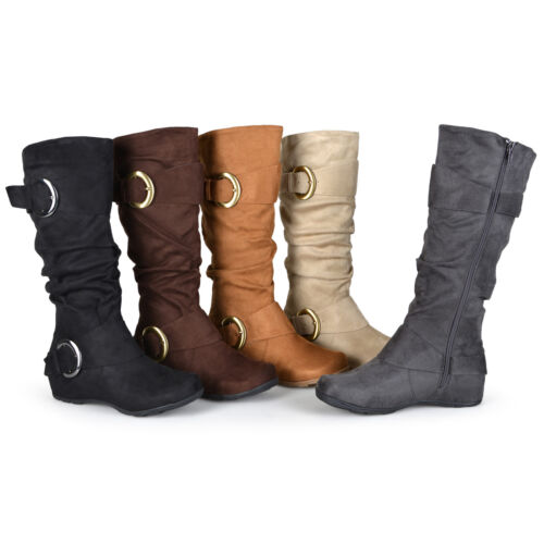 Journee Collection Womens Wide and Extra Wide-Calf Slouch Buckle Knee High Boots