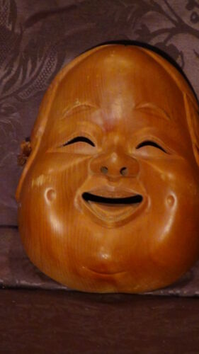 "ANTIQUE  19C JAPANESE WALNUT WOOD HAND CARVED "" BUDDHA SMILING FACE"" MASK"