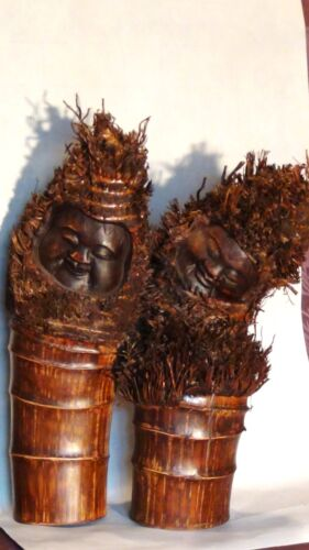 ANTIQUE 19C CHINESE BAMBOO ROOTS HAND CARVED TWINS STATUE