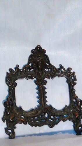 ANTIQUE FRENCH CAST IRON LARGE CHERUBS AND WOMAN HEAD DOUBLE PICTURE FRAME