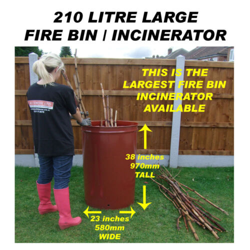 210 LITRE LARGE GARDEN BURNER/INCINERATOR/BONFIRE BIN FOR WOOD/RUBBISH/LEAVES <br/> *VERY FAST & FREE DELIVERY TO ANY UK POSTCODE*