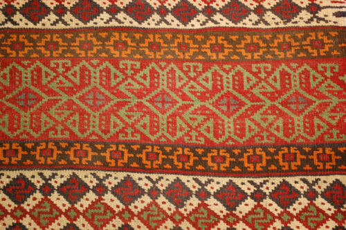 Pre 1900s ANTIQUE COLORFUL CAUCASIAN SOUMAK KILIM ULTRA RARE SIZE 2.6x7.4