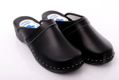 Black Hand Made Clogs Geniune Leather Healthy Mules Wooden Sole Shoes DM