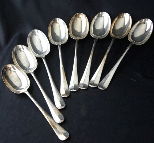 COOPER BROS & Sons QUEEN ANNE Silverplate 8 Table/Serving Spoons