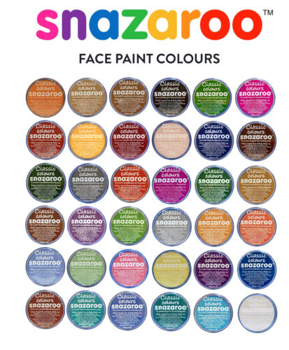 18ml SNAZAROO FACE & BODY PAINTS Stage Makeup CLASSIC COLOURS 47 Shades Theatre