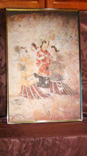 "ANTIQUE CHINESE  PRINT ON CANVAS ""MAN AND 3 WOMEN',FRAMED"