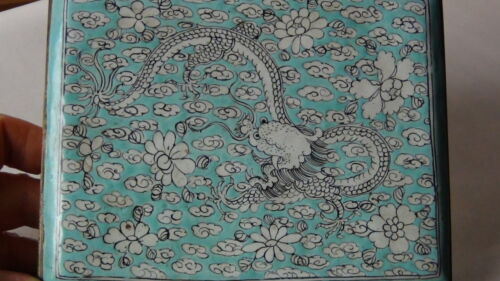 RARE ANTIQUE 19C CHINESE CANTON ENAMEL PAINTED DEVIDED DRAGON AND FLOWERS BOX