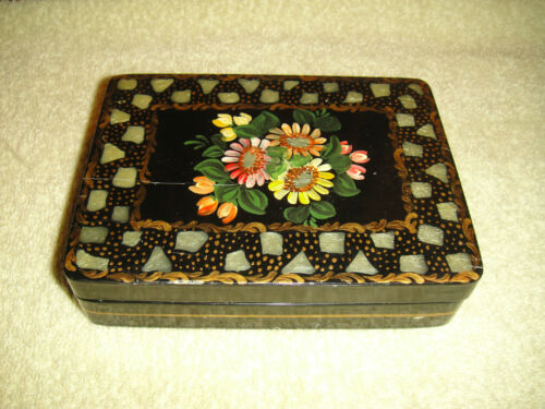 Vintage Wood Playing Card Trinket Box-Painted Sunflowers-Abalone-Signed-Black