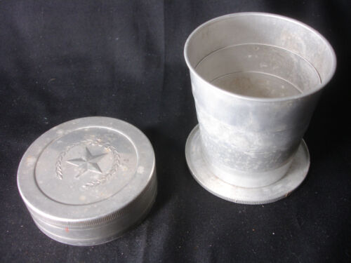 Old Vtg Magic Metal Hiking Camping Collapsible Cup With Lid Star Design