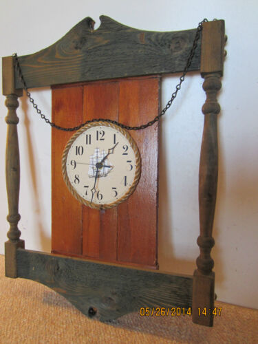 NAUTICAL COLONIAL WOOD & ROPE TALL SHIP CLOCK