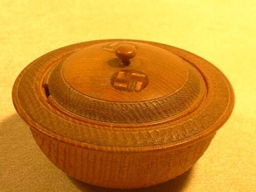 Vintage Wooden Treenware Carved and Inlaid Covered Box
