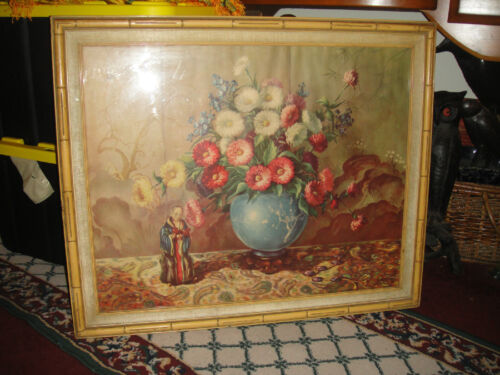 Antique Chinese Or Japanese Color Print Of Flowers In Vase-Religious Statue-LQQK