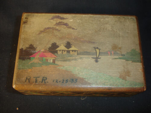 Old Vtg Antique Scotty Dog And Sailing On The Lake Scene Wood Box Dated 1935