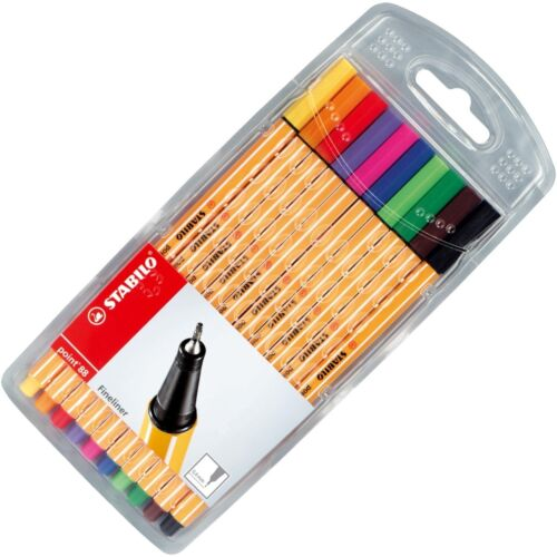 Stabilo Point 88 Fineliner Pigment Liner Assorted Colours - Wallet of 10