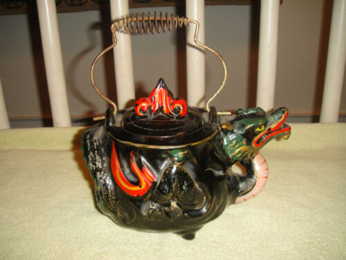 Vintage Japan China Painted Dragon Teapot Wire Mesh Handle Marked Bottom