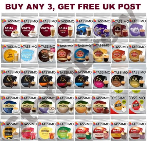 TASSIMO COFFEE PODS T-DISCS, BUY 3+ PACKS & GET FREE POST!   <br/> Widest & cheapest choice on eBay. 50+ blends to choose!