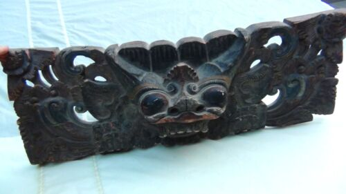 ANTIQUE 19C BALINESE GOD BARONG TEAK WOOD CARVINGIN COLORS OF GREEN,RED &BLUE