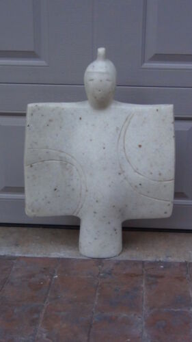 ANTIQUE 19C CHINESE WHITE MARBLE CARVED LARGE STATUE OF BUDDHA