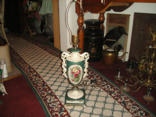 Vintage French Victorian Style Urn Or Trophy Table Lamp-Painted Floral Design